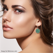 Emerald & Diamond Accents Cluster Dangle Earrings in Platinum over Sterling Silver Gemstone Collectors U.S.