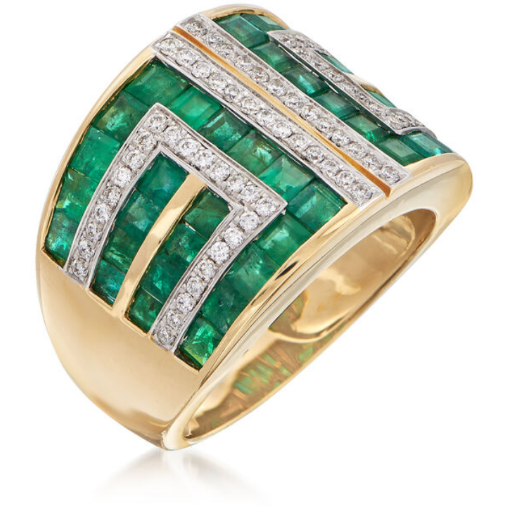 Emerald & Diamond Geometric 14k Yellow Gold Ring Gemstone Collectors U.S.