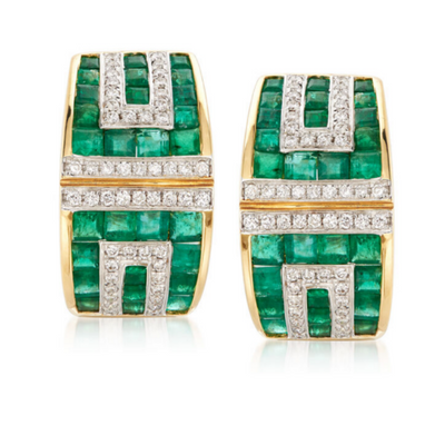 Emerald & Diamond Geometric 18k Yellow Gold Drop Earrings Gemstone Collectors U.S.