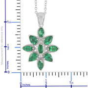Emerald & Diamond Necklace in Platinum over Sterling Silver Gemstone Collectors U.S.