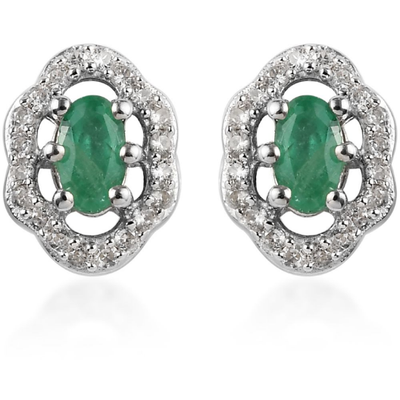 Emerald & White Zircon Halo Earrings in Platinum over Sterling Silver Gemstone Collectors U.S.