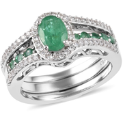 Emerald & White Zircon interchangeable Ring Set in Platinum over Sterling Silver Gemstone Collectors U.S.