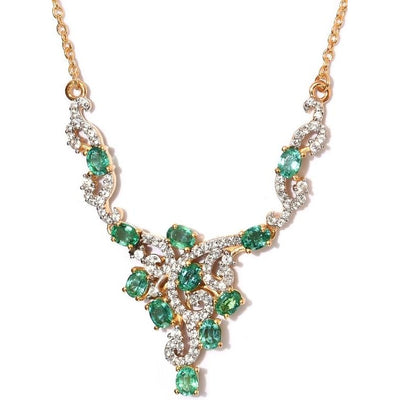 "Emerald & Zircon 18"" Necklace in 14K Vermeil Yellow Gold over Sterling Silver Gemstone Collectors U.S."