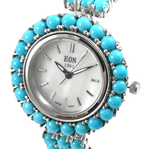 EON 1962 Arizona Sleeping Beauty Turquoise Watch in Platinum over Sterling Silver Gemstone Collectors U.S.
