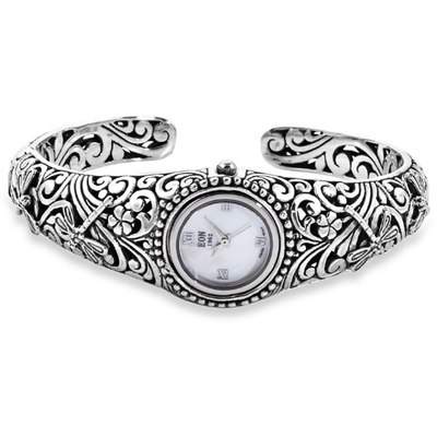 EON 1962 Dragonfly Floral Cuff Bracelet Watch In Platinum over Sterling Silver Gemstone Collectors U.S.
