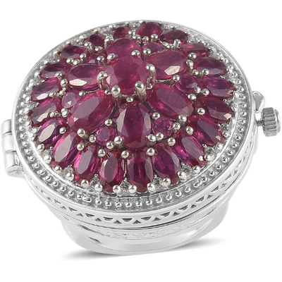 EON 1962 Ruby & Zircon Flip Top Watch Ring in Sterling Silver & Surgical Grade Stainless Steel Gemstone Collectors U.S.