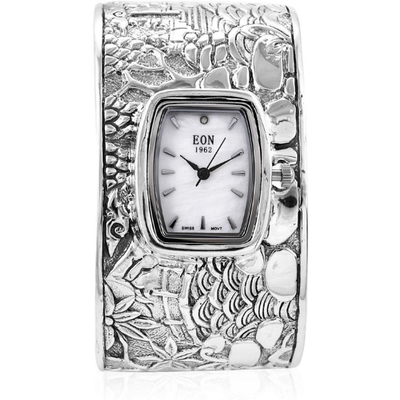 EON 1962 Swiss Movement Cuff Bracelet Watch In Platinum over Sterling Silver Gemstone Collectors U.S.