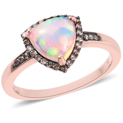 Ethiopian Opal & Champagne Zircon Ring in Rose Gold over Sterling Silver Gemstone Collectors U.S.