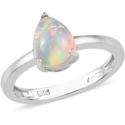 Ethiopian Opal Pear Solitaire Ring in Platinum over Sterling Silver Gemstone Collectors U.S.