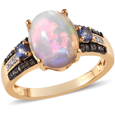 Ethiopian Opal, Tanzanite, Champagne & White Diamond Yellow Gold over Sterling Silver Gemstone Collectors U.S.