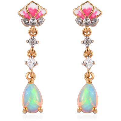 Ethiopian Opal & Zircon Enameled Dangle Earrings in Yellow Gold over Sterling Silver Gemstone Collectors U.S.