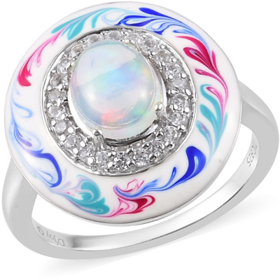Ethiopian Opal & Zircon Enameled Ring in Platinum over Sterling Silver Gemstone Collectors U.S.
