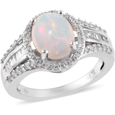 Ethiopian Opal & Zircon Ring in Platinum over Sterling Silver Gemstone Collectors U.S.
