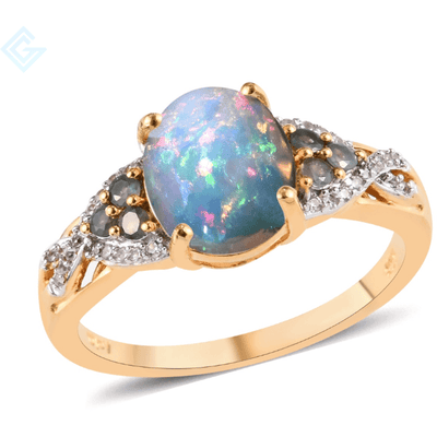 Ethiopian Welo Opal, Alexandrite & Zircon, Vermeil Yellow Gold over 925 Sterling Silver 2.75 ctw Gemstone Collectors U.S.