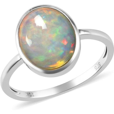 Ethiopian Welo Opal Bezel Set Solitiare Ring in 10K White Gold Gemstone Collectors U.S.