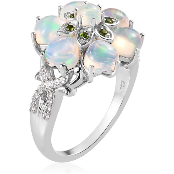 Ethiopian Welo Opal & Multi Gemstone Cluster Ring in Platinum over Sterling Silver Gemstone Collectors U.S.