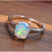 Ethiopian Welo Opal Ring in 14K White Gold Gemstone Collectors U.S.