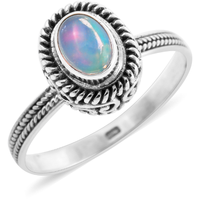 Ethiopian Welo Opal Solitaire Ring in Platnium over Sterling Silver Gemstone Collectors U.S.