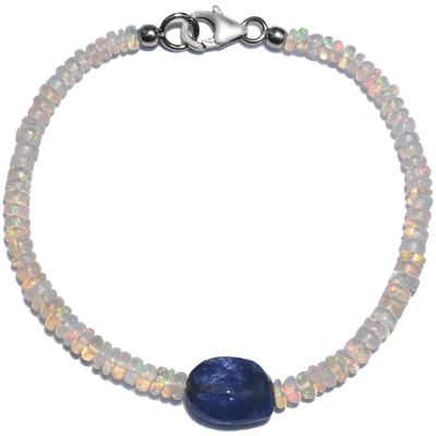 Ethiopian Welo Opal & Tanzanite Bracelet in Platinum over Sterling Silver Gemstone Collectors U.S.