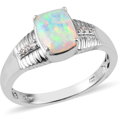 Ethiopian Welo Opal & Zircon Men's Ring in Platinum over Sterling Silver Gemstone Collectors U.S.