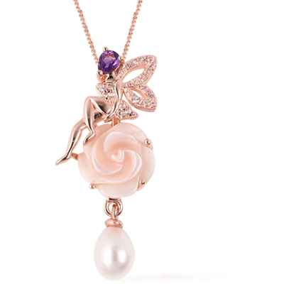 Fairy Multi Gemstone Necklace in Rose Gold over Sterling Silver Gemstone Collectors U.S.