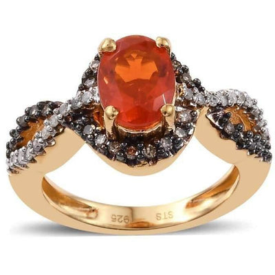 Fire Opal, Champagne & White Diamond Yellow Gold over 925 Sterling Silver ring Gemstone Collectors U.S.