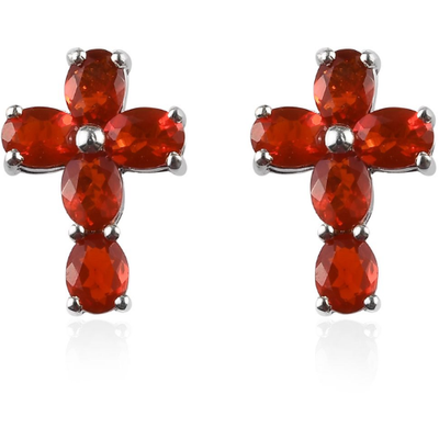 Fire Opal Cross Stud Earrings in Platinum over Sterling Silver Gemstone Collectors U.S.