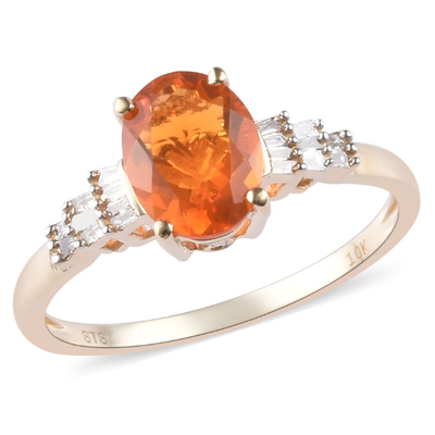 Fire Opal & Diamond Ring in 10K Yellow Gold Gemstone Collectors U.S.
