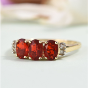 Fire Opal & Diamond Trilogy Ring in 10K Yellow Gold Gemstone Collectors U.S.