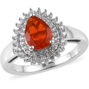 Fire Opal & Zircon Double Halo Ring in Platinum over Sterling Silver Gemstone Collectors U.S.