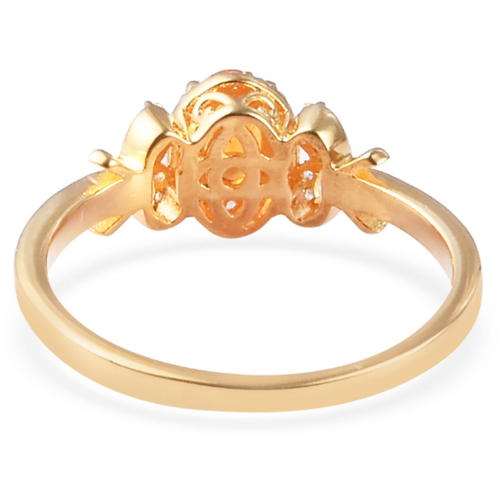 Fire Opal & Zircon Halo Ring in Yellow Gold over Sterling Silver Gemstone Collectors U.S.