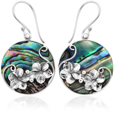 Flower & Abalone Shell Earrings in Platinum over Sterling Silver Gemstone Collectors U.S.