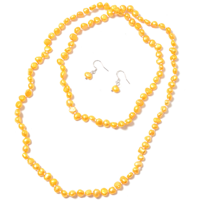 Freshwater Golden Pearl Endless Necklace & Earrings Set in Platinum over Sterling Silver Gemstone Collectors U.S.