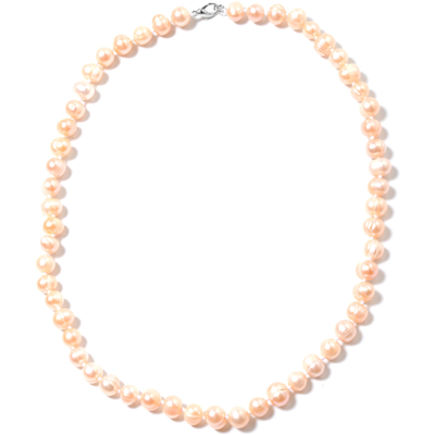 "Freshwater Peach Pearl Hand Knotted Necklace 18"" in Sterling Silver Gemstone Collectors U.S."