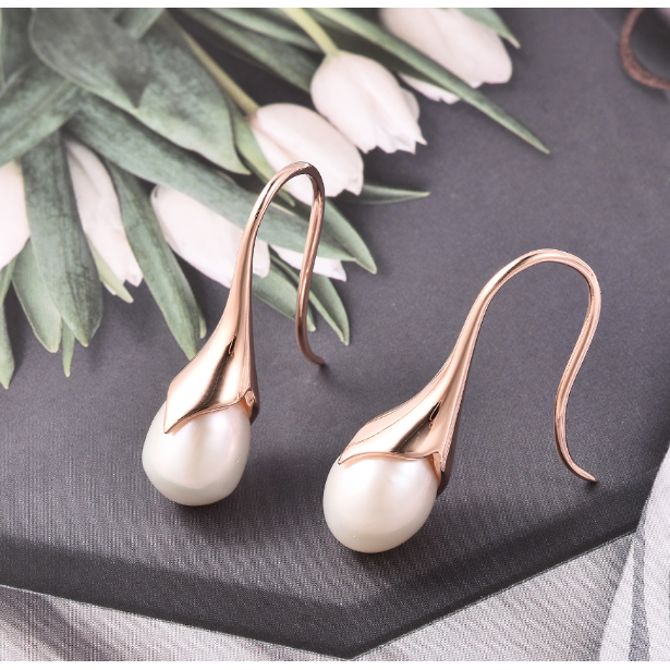 Freshwater Pearl Dangle Earrings in Rose Gold over Sterling Silver Gemstone Collectors U.S.