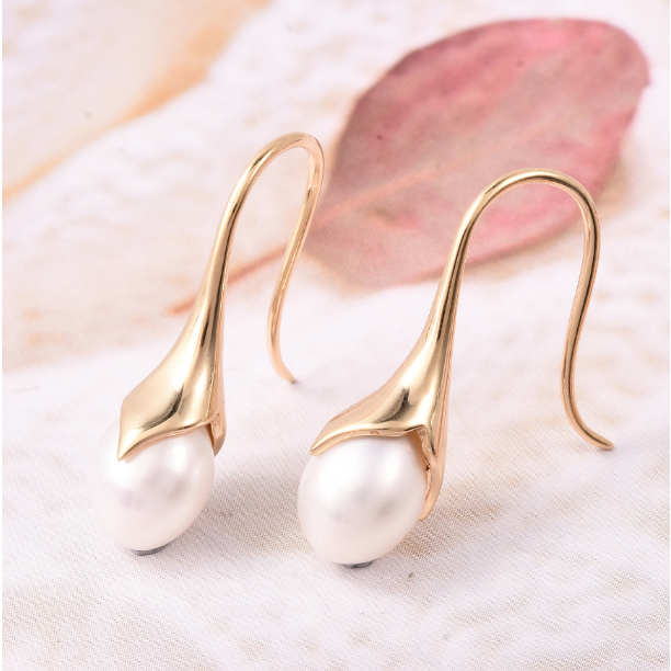 Freshwater Pearl Dangle Earrings in Yellow Gold over Sterling Silver Gemstone Collectors U.S.