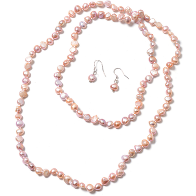 Freshwater Purple Pearl Endless Necklace & Earrings Set in Platinum over Sterling Silver Gemstone Collectors U.S.