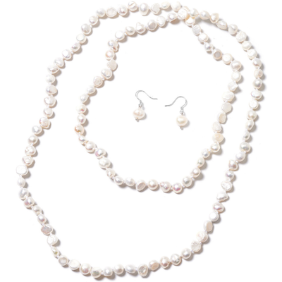Freshwater White Pearl Endless Necklace & Earrings Set in Platinum over Sterling Silver Gemstone Collectors U.S.