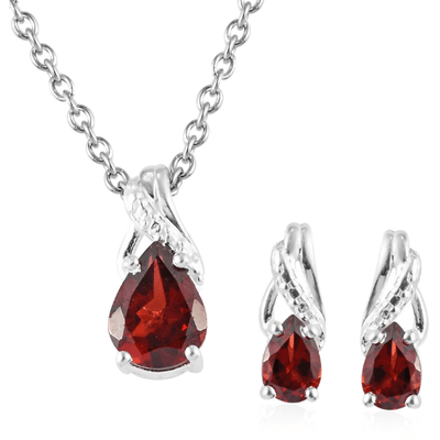 Garnet Earrings & Necklace Jewelry Set in Stainless Steel & Sterling Silver Gemstone Collectors U.S.