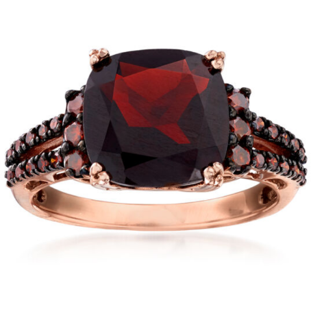 Garnet & Red Diamond 14k Rose Gold Ring Gemstone Collectors U.S.