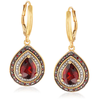 Garnet, Red & White Diamond 18k Yellow Gold over Sterling Silver Dangle Earrings Gemstone Collectors U.S.