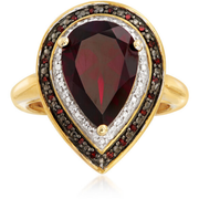 Garnet, Red & White Diamond 18k Yellow Gold over Sterling Silver Halo Ring Gemstone Collectors U.S.