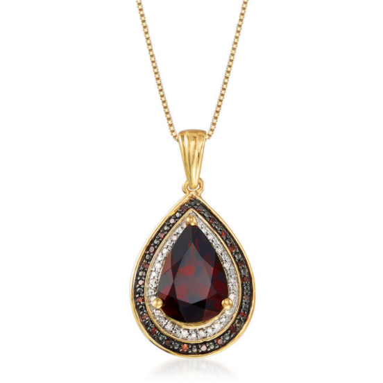 Garnet, Red & White Diamond 18k Yellow Gold over Sterling Silver Pendant Necklace Gemstone Collectors U.S.