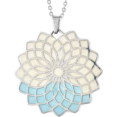 "Glow in the Dark Flower Pendant Necklace 20"" in Stainless Steel Gemstone Collectors U.S."