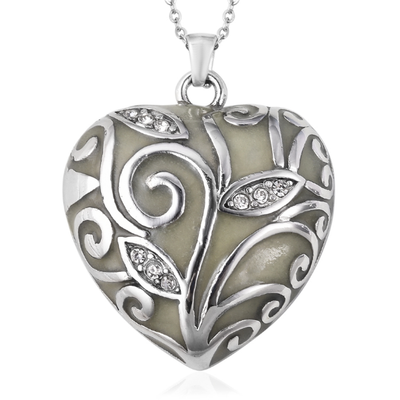 "Glow in the Dark Heart Pendant Necklace 20"" in Stainless Steel Gemstone Collectors U.S."