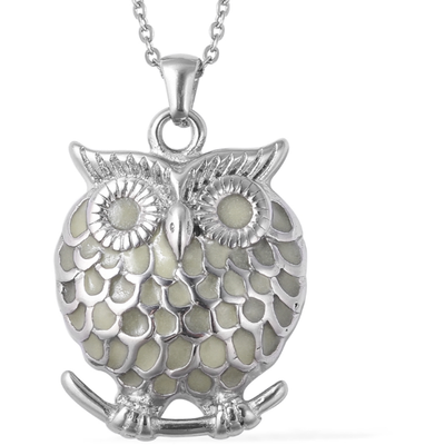"Glow in the Dark Owl Pendant Necklace 20"" in Stainless Steel Gemstone Collectors U.S."