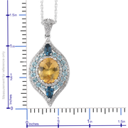 Golden Apatite & Multi Gemstone Pendant Necklace in Platinum over Sterling Silver Gemstone Collectors U.S.