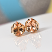 Golden Imperial Topaz Stud Earrings in 10K Yellow Gold Gemstone Collectors U.S.