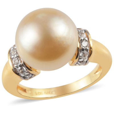 Golden South Sea Pearl & Zircon Ring in Yellow Gold over Sterling Silver Gemstone Collectors U.S.