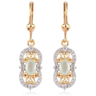 Grandidierite & White Zircon Earrings in Yellow Gold over Sterling Silver Gemstone Collectors U.S.